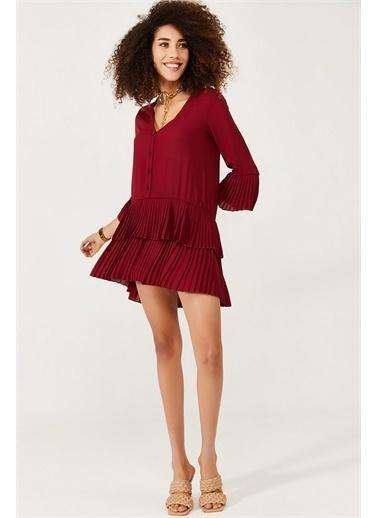 XHAN Pembe Eteği Pileli Elbise 1Kxk6-44568-20 Bordo